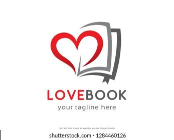 Love Book Logo Template Design Vector, Emblem, Concept Design, Creative Symbol, Icon