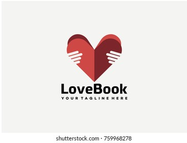 Love Book Logo Template Design. Creative Vector Emblem for Icon or Design Concept