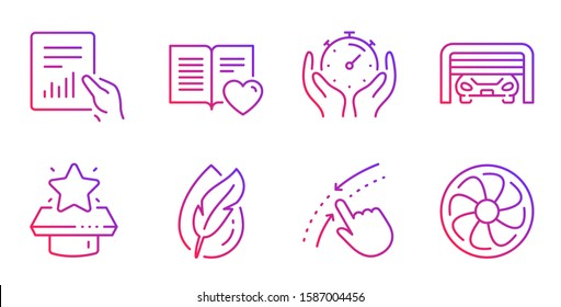 Love book, Winner podium and Document line icons set. Hypoallergenic tested, Timer and Parking garage signs. Swipe up, Fan engine symbols. Customer feedback, First place. Technology set. Vector