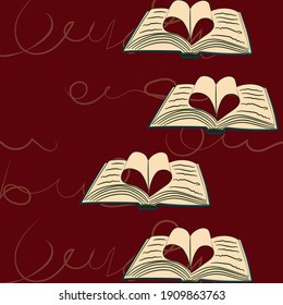 love for books. hand drawn