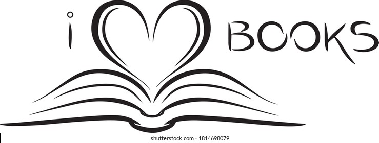 i love books logo sign inspirational quotes and motivational typography art lettering composition design