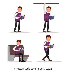 Love of books. Set of man reading an interesting book in different situations Vector illustration in a flat style