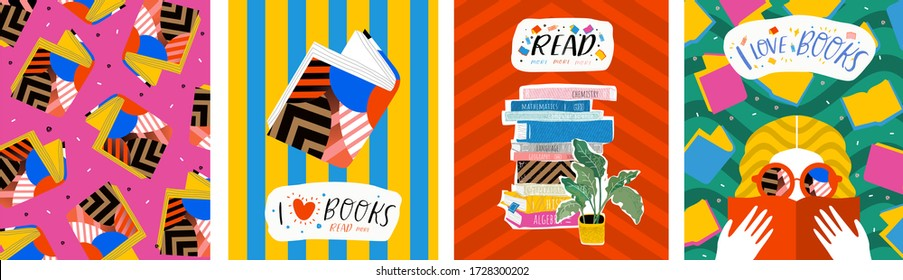 I love books. Vector illustration of abstract pop art posters with books, reading people and pattern. Graphic for background, banner or cover.