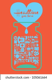 Love bottle / design / template / orange background