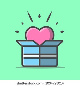 Love Box Illustration Vector. Love symbol. Valentine's Day sign, emblem isolated, Flat style for icon, graphic,web design, and logo.