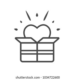 Love Box Line Vector. Love symbol. Valentine's Day sign, emblem isolated, Flat style for icon, graphic,web design, and logo.