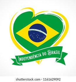 Love Brazil flag emblem with portuguese text Independencia do Brasil on ribbon. Translate: Independence day of Brazil, vector background with heart in national flag colors