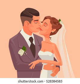 Love bride and groom character hug and kiss. Vector flat cartoon illustration