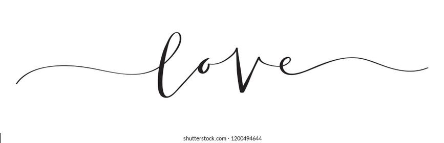LOVE brush calligraphy banner