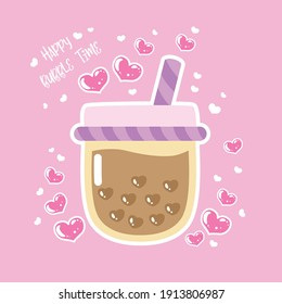 Love of Bubble tea flavors cup design collection, Pearl milk tea, Yummy drinks, Taiwan milk, Boba Bubble Milk Tea, Vector Illustration