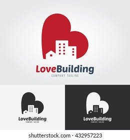 Love Building Logo Template. City with heart icon design concept. Logo for real estate. Business visual identity. Houses and skyscrapers icon.