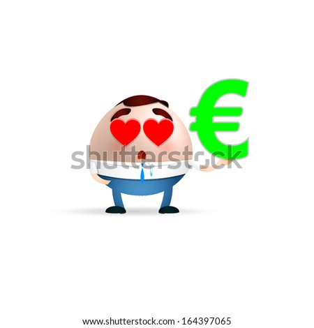 Love Businessman Cartoon Holding Euro Sign Stock Vector Royalty