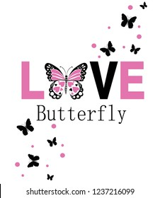 love butterfly,for t-shirt slogan
