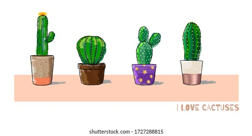 I Love Cactuses - Watercolor Set. Vector Illustration