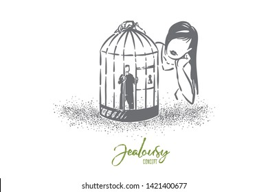 Love cage metaphor, girl looking at boyfriend tiny character imprisoned in birdcage. Psychological pressure, domination, romantic obsession concept sketch. Hand drawn vector illustration
