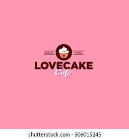 Love cake logo. Pink  background.