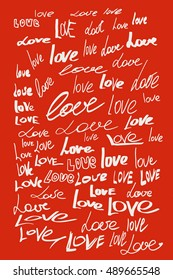 """Love calligraphic lettering with outline hand drawn, Illustration EPS10 great for any use/Hand made doodle of love words """"love"""""""