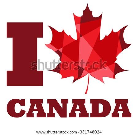 Love Canada National Symbol Canada Maple Stock Vector Royalty Free