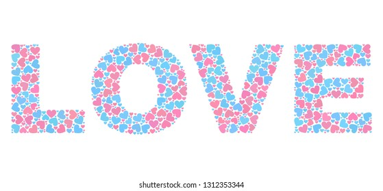 LOVE caption constructed with scattered pink and blue lovely hearts. Text caption is isolated on a white background. Vector collage LOVE for Valentine illustrations.