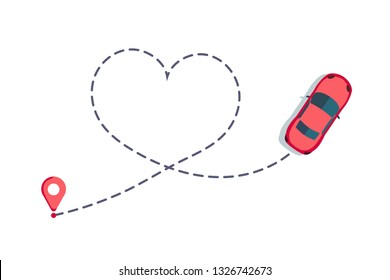 Love car route. Romantic travel, heart dashed line trace and routes. Hearted vehicle path, dotted love valentine day drawing isolated vector illustration