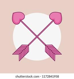 love card with arrrows cupid