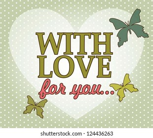 love card with heart over green background. vector illustration