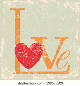 Love card with heart over grunge background