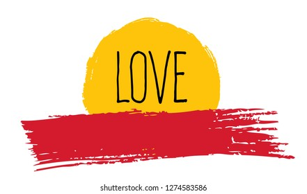 Love card. Minimal landscape with sun