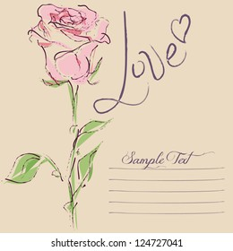 Love Card with vector stylized rose