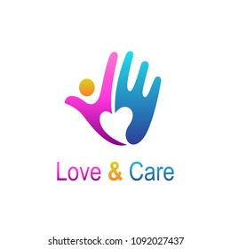 Love And Care Logo, Charity Logo,Foundation Logo, Hand + People + Love, Logo Template