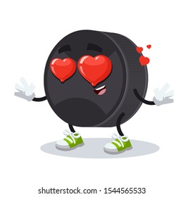 In love cartoon black rubber hockey puck character mascot on white background