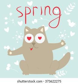 In love cartoon cat on a spring. Vector illustration.