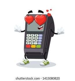 In love cartoon EDC card swipe machine character mascot on white background