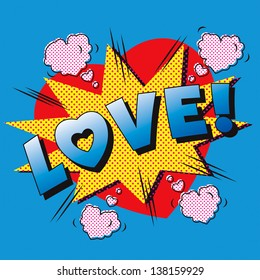 Love cartoon explosion. Falling in love. Love firework. Heart typography.