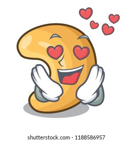 In love cashew nuts hot baked on table cartoon