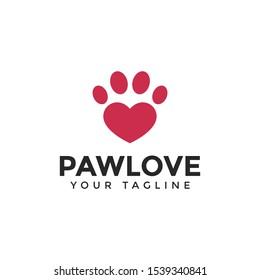 Love & Cat or Dog Paw Print, Pet Logo Design Template
