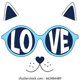 love cat illustration vector for print design.