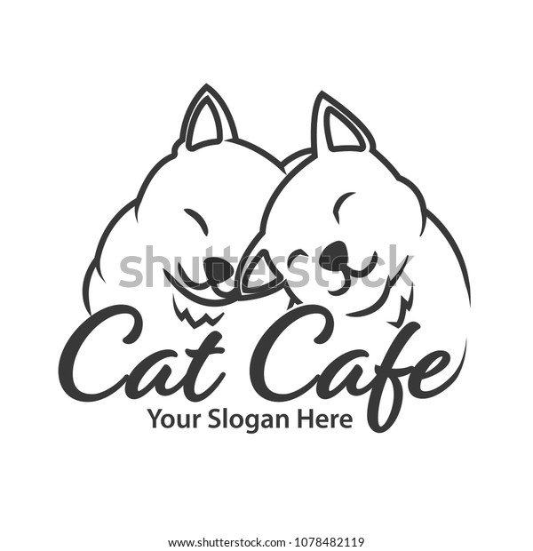 Love Cats Cafe Logo Stock Vector (Royalty Free) 1078482119