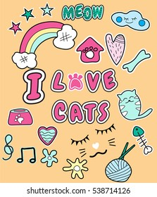 I love cats with patch fashion pins t-shirt pocket .vector illustration