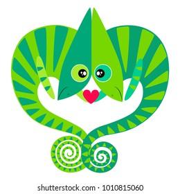 Love Chameleon Postcard Vector illustration