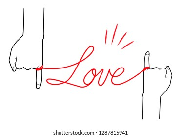 Love characters with red thread