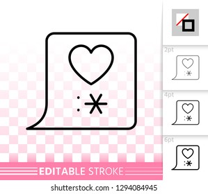Love Chat bubble thin line icon. Outline web sign of kiss. Heart linear pictogram with different stroke width. Simple vector symbol, transparent background. Message editable stroke icon without fill