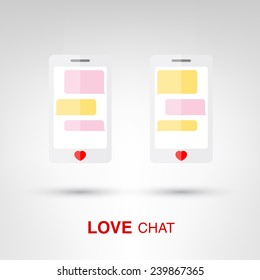 Love Chat - creative Valentines Day two smartphones with heart-shaped buttons concept vector illustration