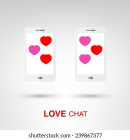 Love Chat - creative Valentines Day two smartphones with heart-shaped bubbles concept vector illustration