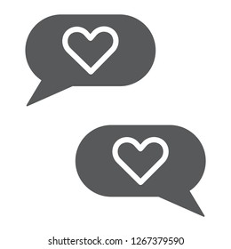 Love chat glyph icon, romantic and dialog, speech bubble sign, vector graphics, a solid pattern on a white background, eps 10.