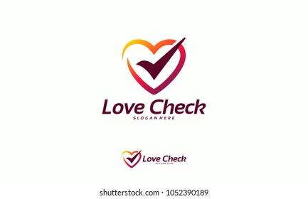 Love Check logo designs concept vector, Heart Check logo designs template