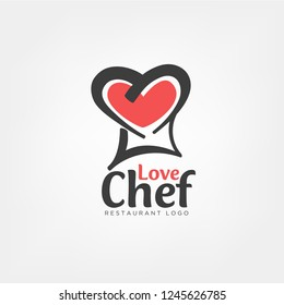 Love chef logo template in chef hat concept