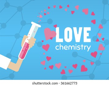 love chemistry bottle flat hand with test tube vector in style card laboratory