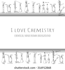 I love chemistry card with of hand drawn science chemical glass equipment, Chemistry education research laboratory tool, chemical funnel, flask, adapters, condenser, Vector illustration.