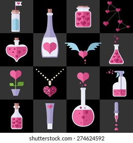Love chemistry icons set. Different cute objects from lab where love and romantic make. Heart shapes. Colorful modern vector flat icons set. Collection of elements for web and mobile apps. Vector EPS8